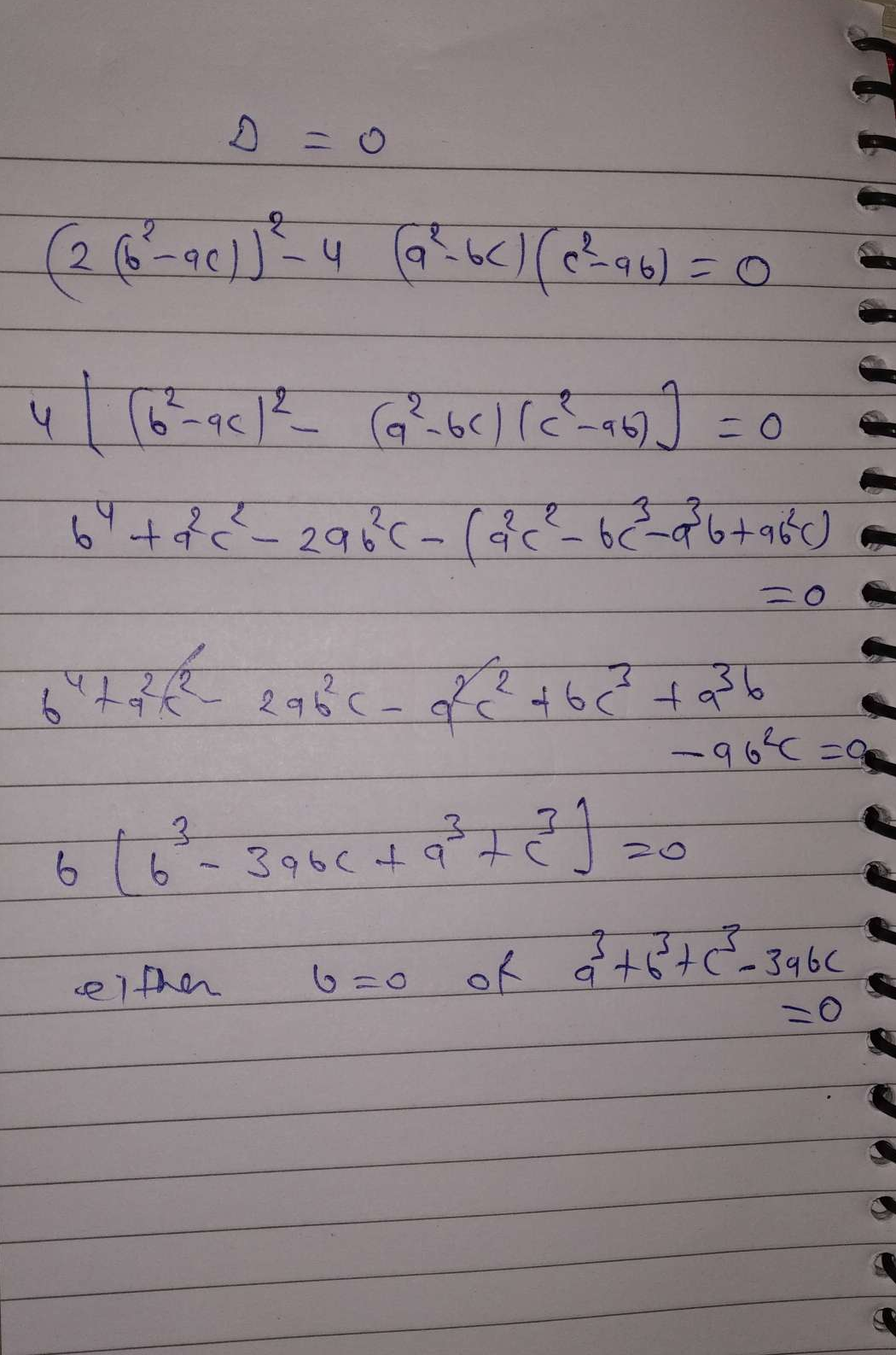 Show that if roots of equation (a^2−bc)x^2+2(b^2−ac)x+c^2−ab=0 are equal, then either b=0 or a^3+b^3+c^3=3abc