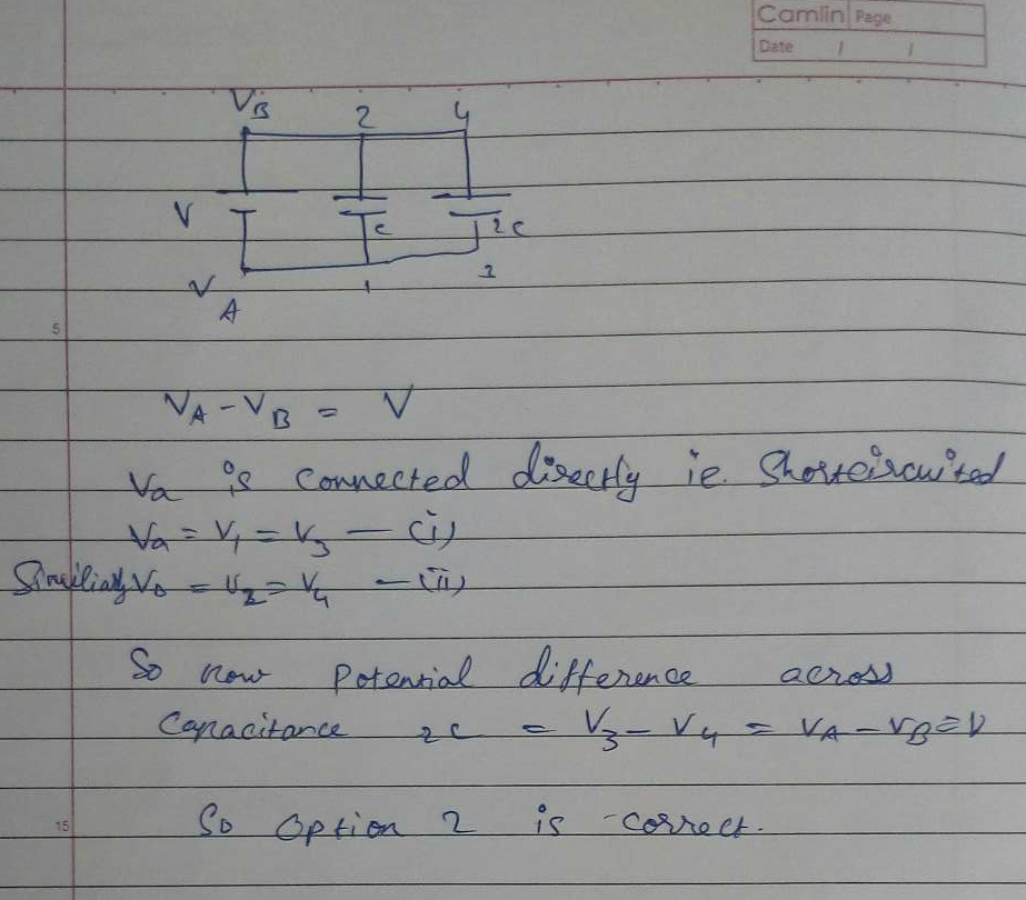 In the arrangement shown, the battery is disconnected and a dielectric slab of dielectric constant K is inserted between the plates of capacitor with capacitance C, so as to completely fill the space. What is the final potential difference across capacitor with capacitance 2C?
