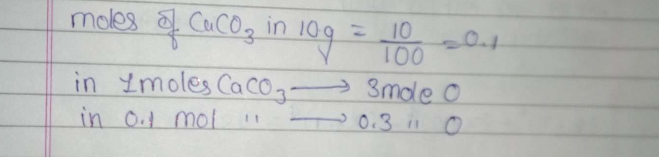 What is correct for 10 g of CaCO3