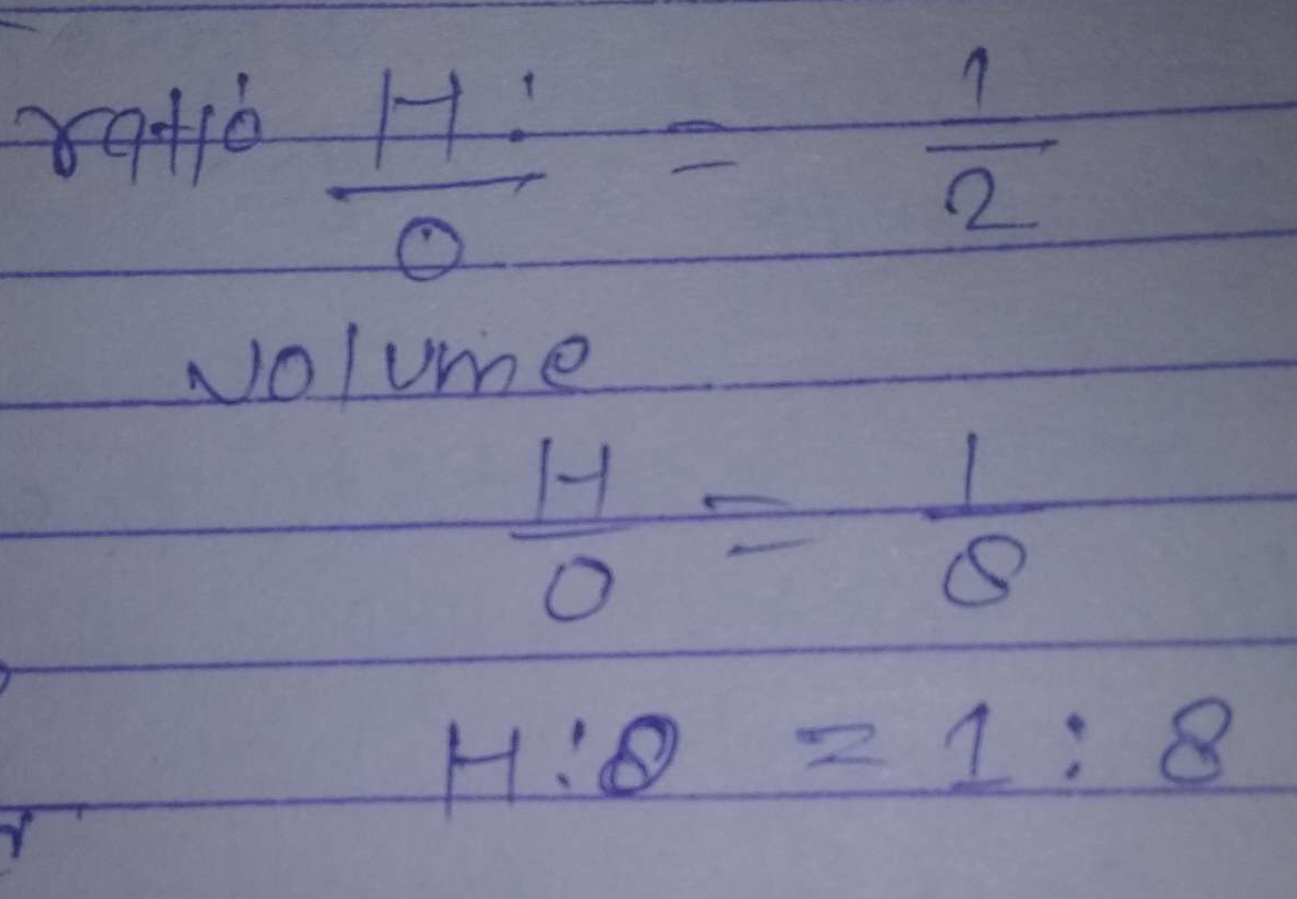 The ratio of hydrogen and oxygen in water (by volume) is: