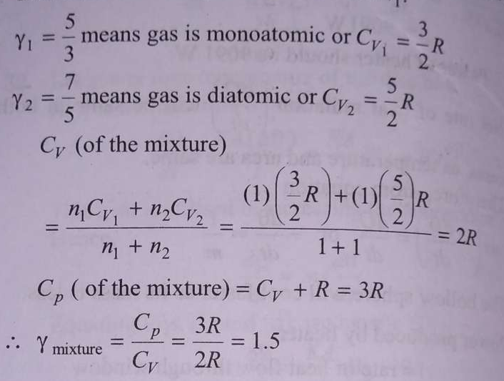 If one mole of a monoatomic gas (γ=5/3) is mixed with one mole of a diatomic gas (γ=7/5), the value of γ for the mixture is.