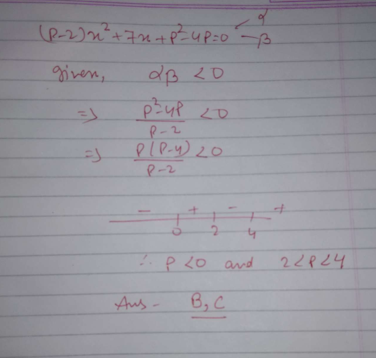 The set of values of p for which(p - 2)x^2 + 7x + p^2 - 4p = 0 has roots of opposite signs are