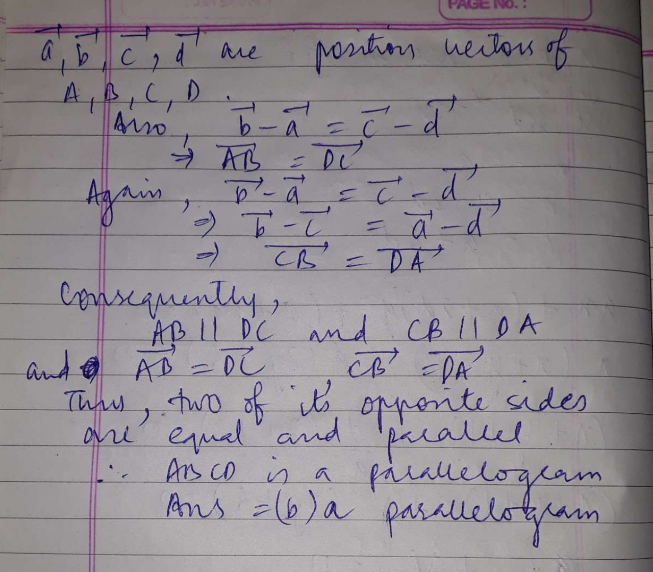 If a, b, c, d are position vectors of points A, B, C & D respectively such that b-a=c-d then ABCD will be