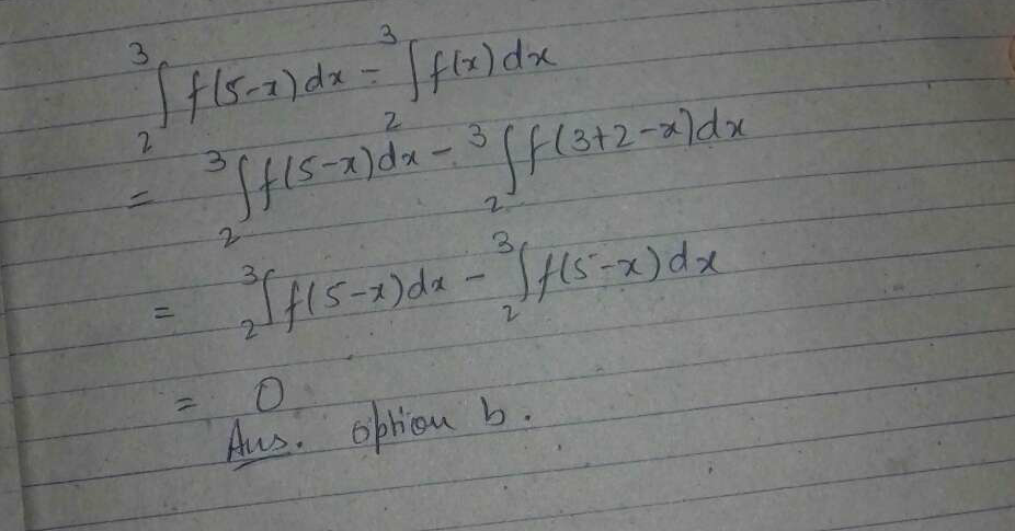 The value ∫_2^3f(5−x)dx−∫_2^3f(x)dx is