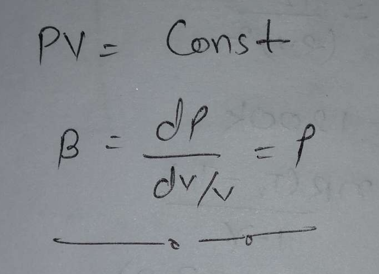 A given quantity of an ideal gas is at pressure P and absolute temperature T. The isothermal bulk modulus of the gas is: