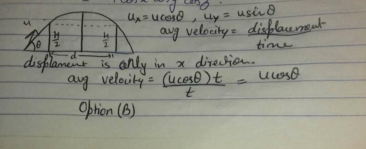 A projectile is launched from the ground level with a speed u at an angle θ with the horizo What is its average velocity between the two instants that it crosses half the maximum heigh