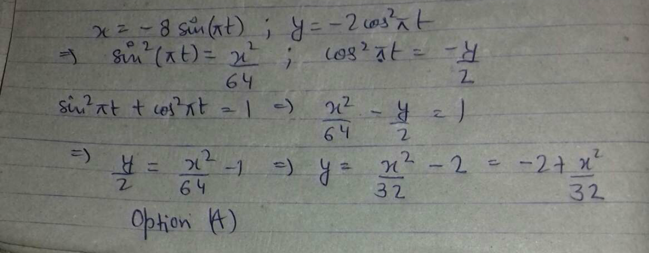 A partical moves in the x -y plane according to the scheme x=−8 sinrt and y=−2cos^2πt, where t is time. Find the equation of path of the particle.