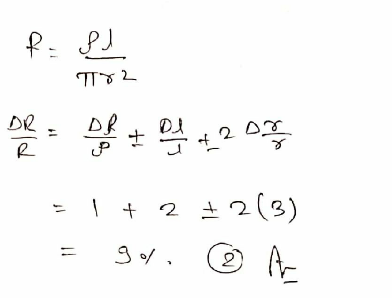 The resistance R of a wire is given by the relation R = Pl/πr2 percentage error in the measurement of p, I and r is 1%, 2% and 3 % respectively. Then the percentage error in the measurement of R is
