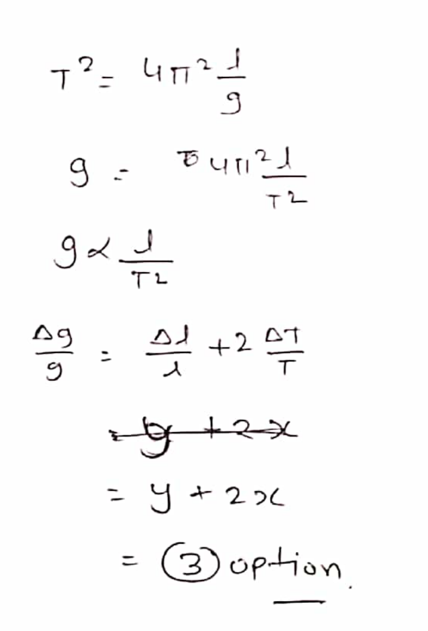 What is the fractional error in g calculated from T=2π√ℓ/g ? Given that fractional errors in T and ℓ are ±x and ±y respectively.