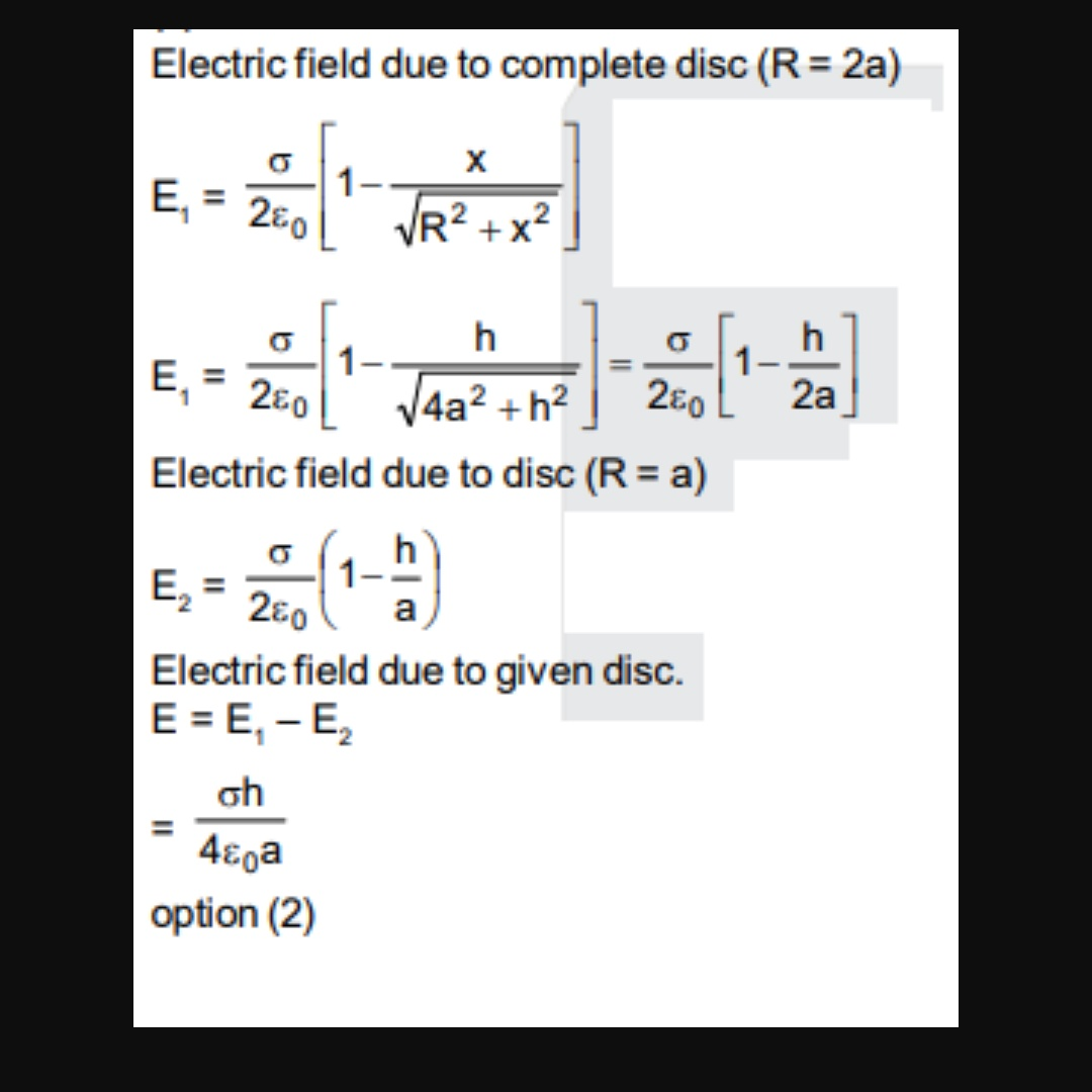 """A thin disc of radius b = 2a has a concentric hole of radius 'a' in it (see figure).It carries uniform surface charge 'a' on it. If the electric field on its axis at height 'h' (h<< a) from its centre is given as """"Ch' then value of 'C' is"""