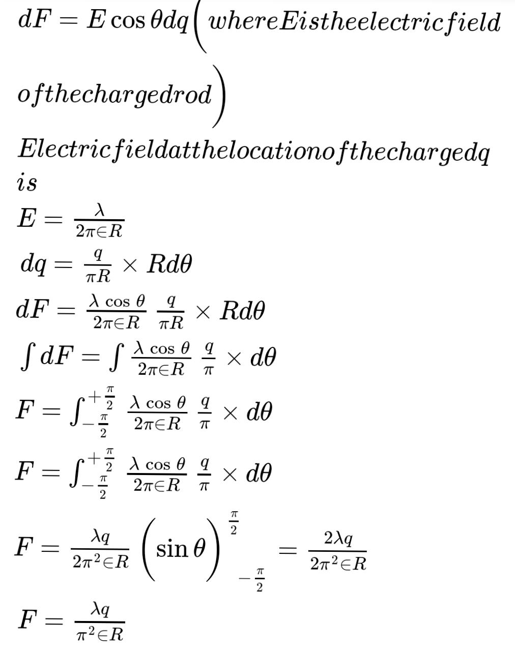 Find the force experienced by the semicircular rod charged with a charge q, placed as shown in figure. Radius of the wire is R and the infinitely long line of charge with linear density λ is passing through its to the plane of wirn centre and perpendicular to the plane of wire