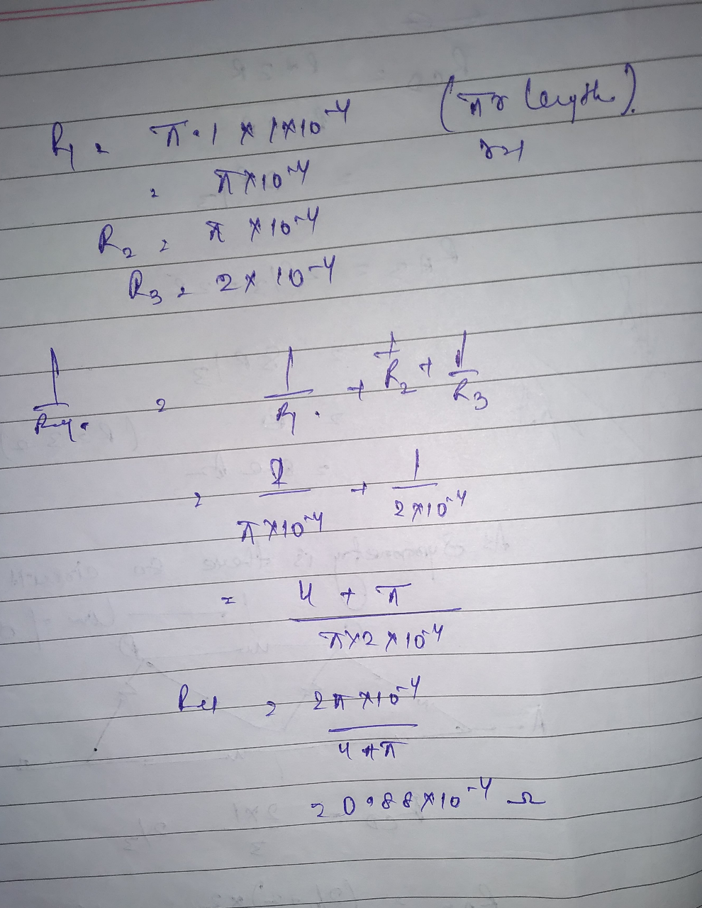 In the figure, find the resistance between points A and B.Both the circle and the diameter are made of uniform wire of resistance 1 x 10^-4 ohm per metre. The length AB is 2 meter