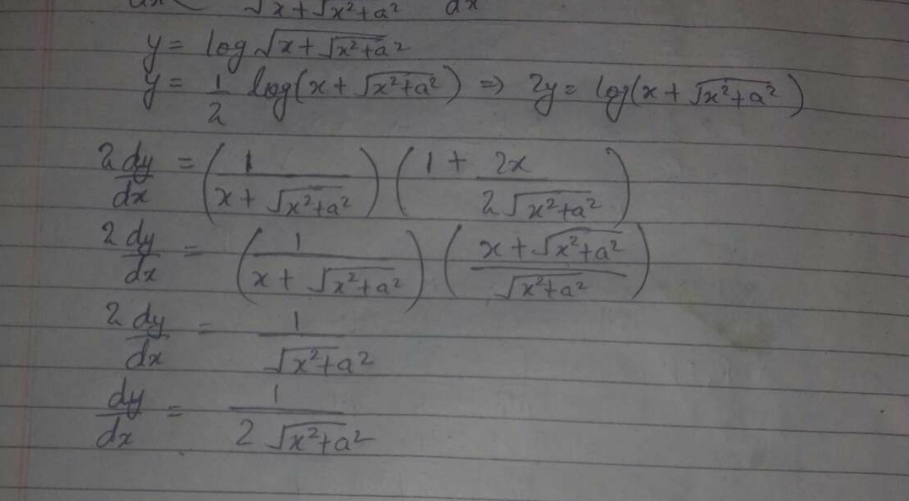 If y = log √x + √x^2 + a^2 then dy/dx is