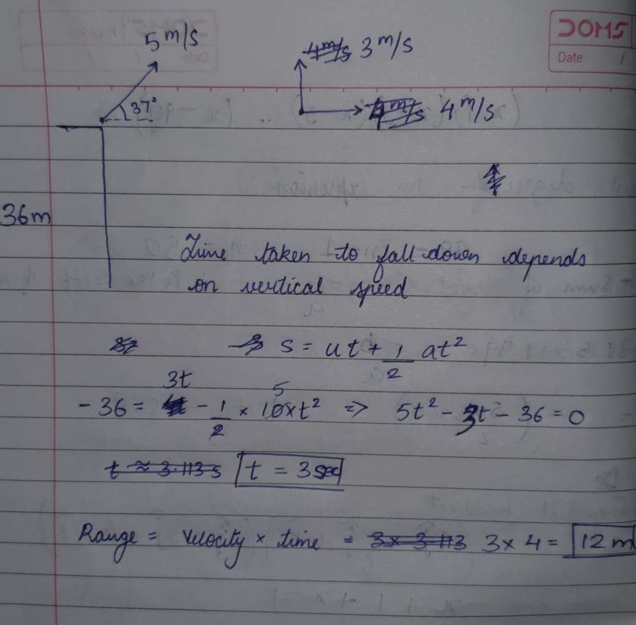 A ball is thrown from the top of 36m high tower with velocity 5m/s at an angle 37∘ above the horizontal as shown. Its horizontal range on the ground is closest to [g=10m/s^2]