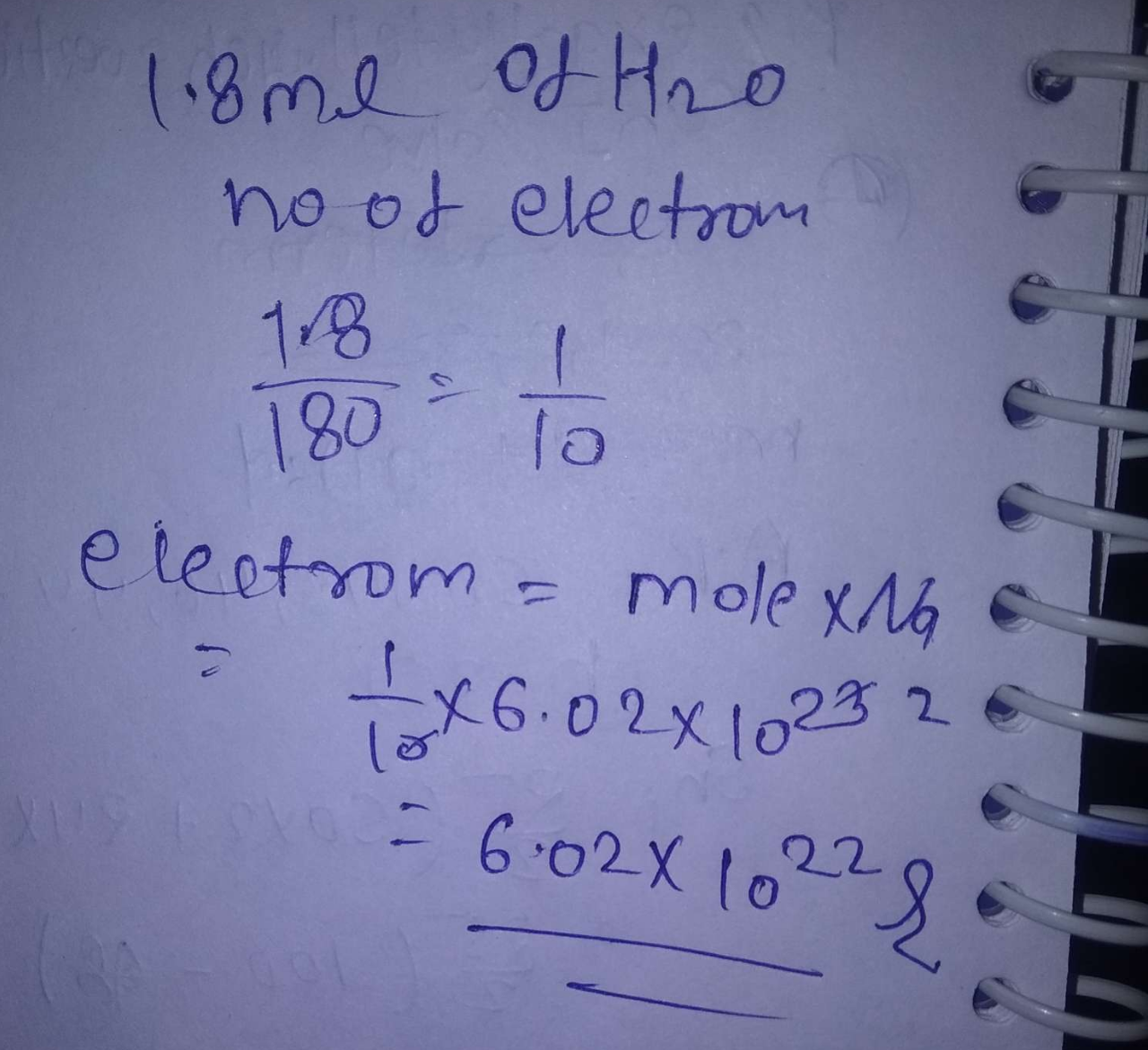 Number of electrons in 1.8mL of H_2O(ℓ) is about:
