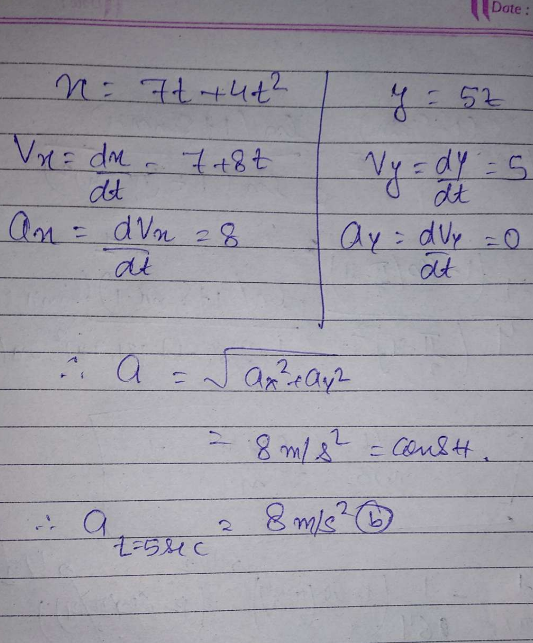 The x an y coordinates of a particle at any time t is given by x =7t + 4t² and y = 5t, where x and y are in metre and t in seconds. The acceleration of particle at t= 5 s is