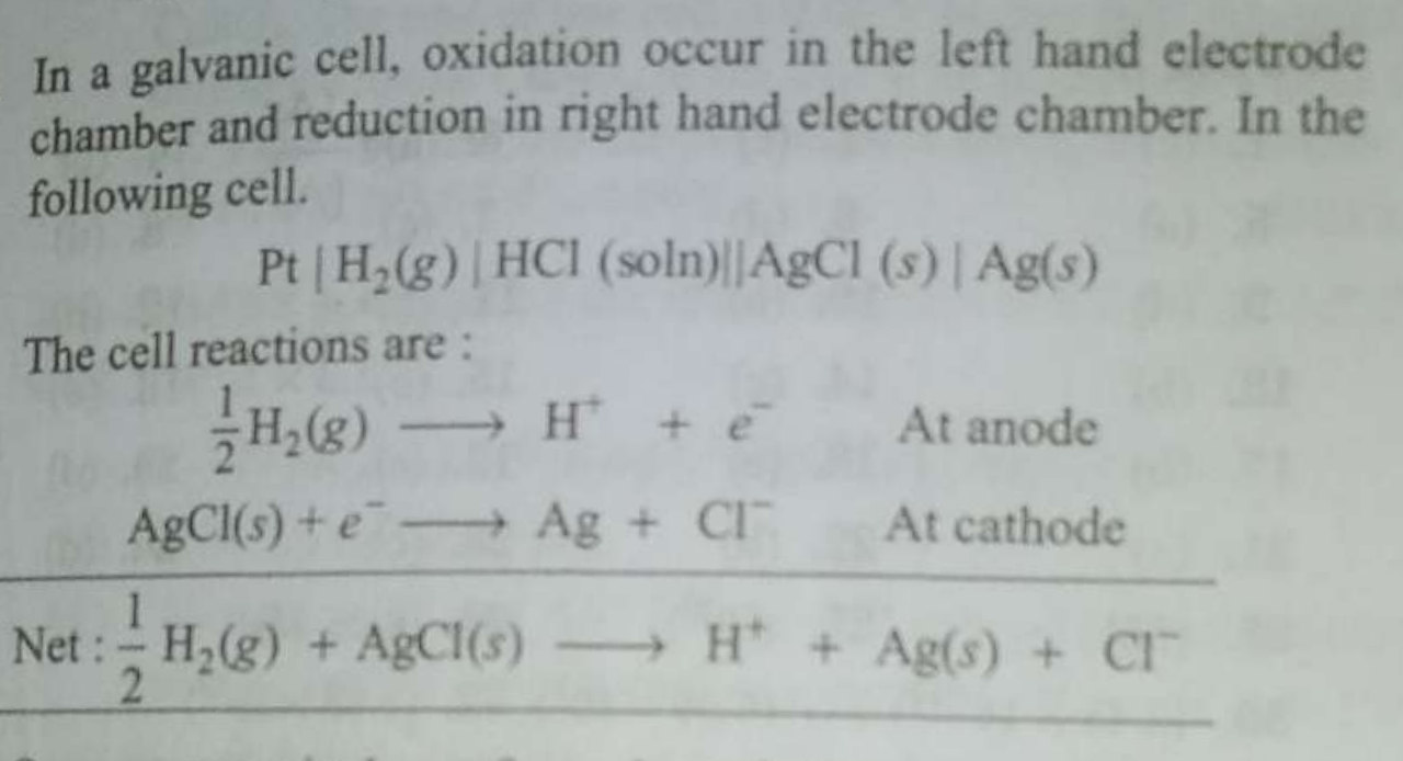 The reaction, 1/2H_2(g)+AgCl(s)⇌H^+(aq)+Cl^−(aq)+Ag(s) occurs in the galvanic cell