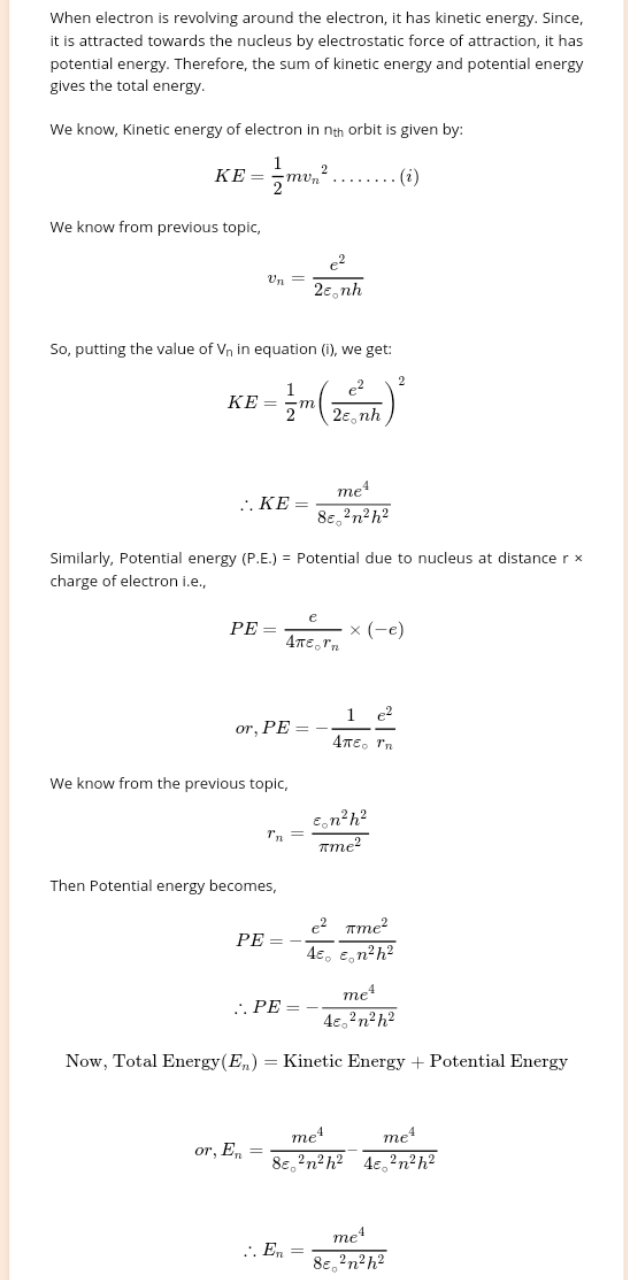 The correct expression derived for the energy of an electron in the nth energy level is - (in CGS)