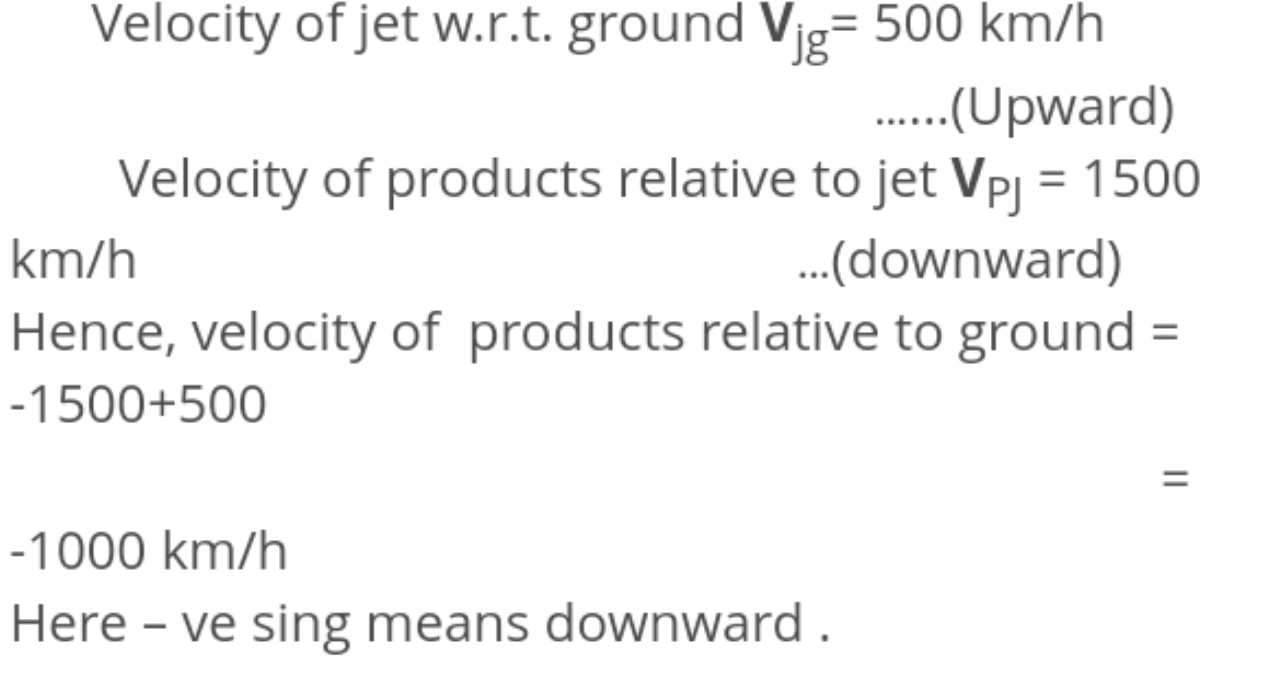 A jet airplane travelling from east to west at a speed of 500kmh−1 ejected out gases of combustion at a speed of 1500kmh−1 with respect to the jet plane. What is the velocity of the gases with respect to an observer on the ground?